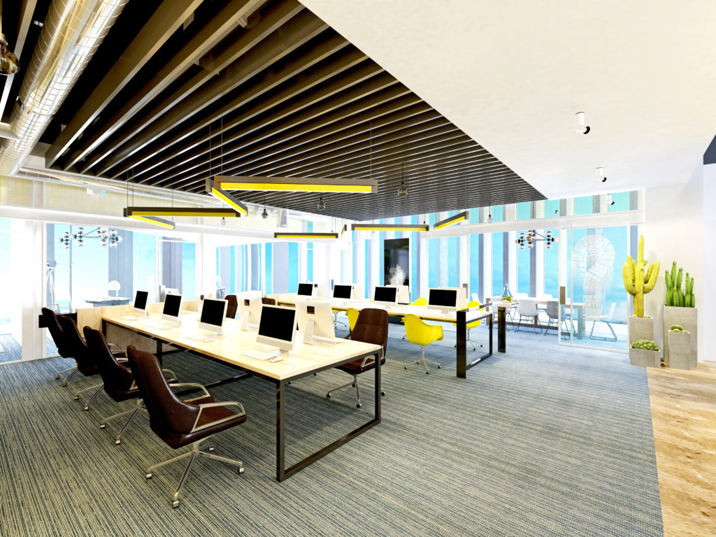 3d render of modern office and working space